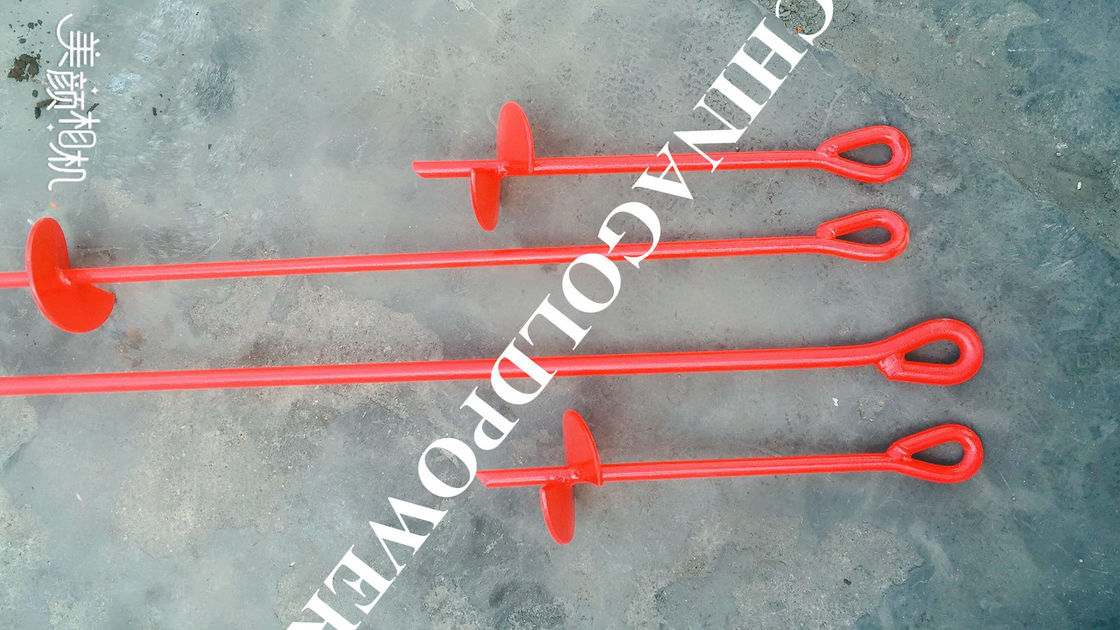 Red Painted Metal Earth Screw Ground Anchors For Retaining Walls